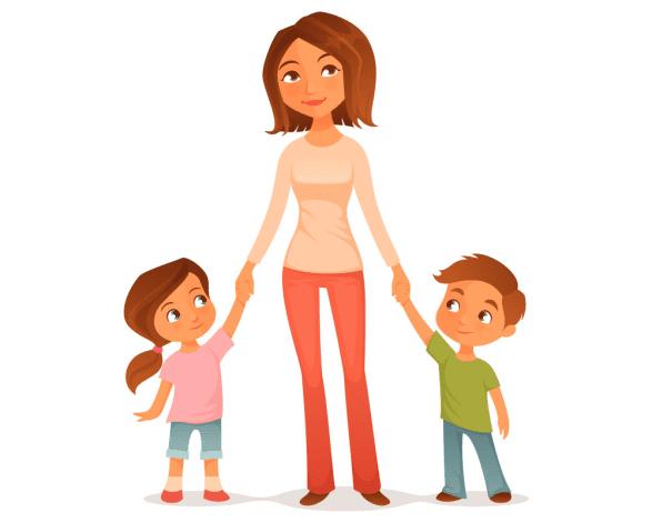 мама и дети рисунок